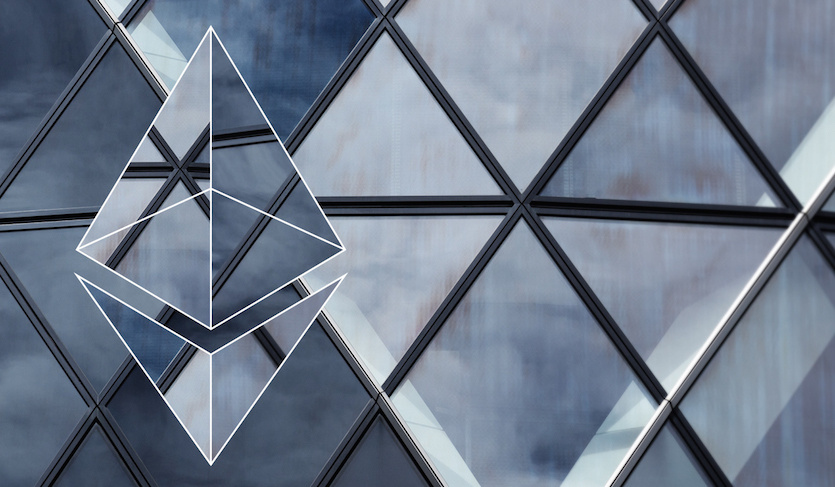 glass ethereum logo superimposed over diamond shaped windows